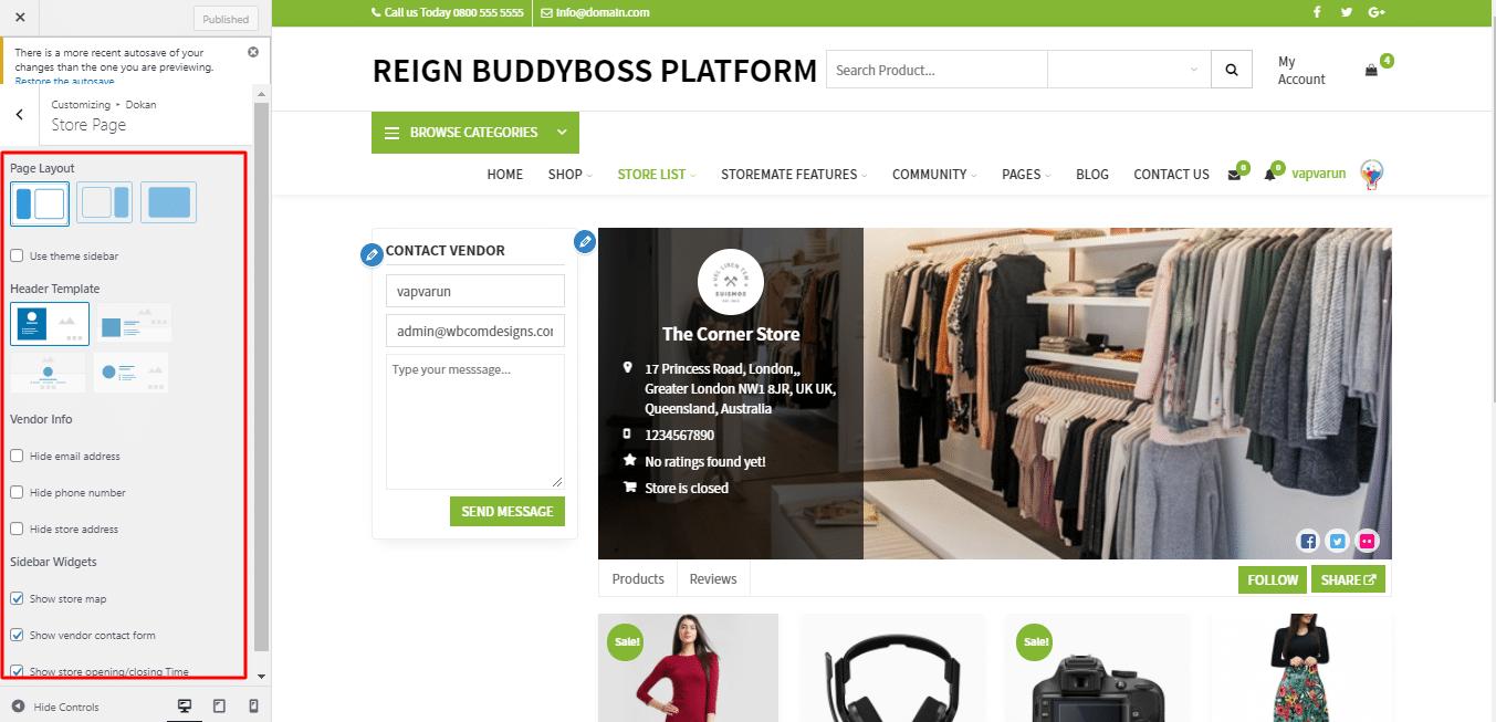 Single Store Page RetailMarket